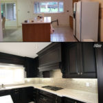Stained Dark Chocolate Classic Kitchen Before And After Photo B