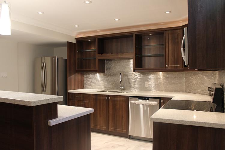Modern Dark Brown Thermofoil Kitchen