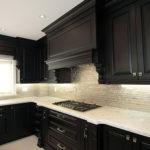 Dark Chocolate Classic Kitchen Raised Panel Doors Beautifull Mantel Hood Elaborated With Corbels