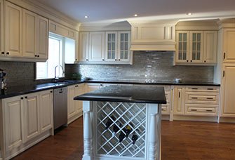 Sharon Culver Painted Glazed Cabinets With Mantle Hood