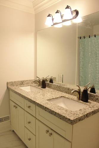 Off White Painted Double Sink Vanity Quiet Close Hinges Quartz Countertop North York