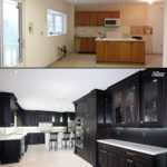 Stained Dark Chocolate Classic Kitchen Before And After Photo A
