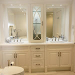 Bathroom renovation. Custom made high end vanity Double Sink from Bosco. Painted Off White cabinets doors. Modern white Quartz Counter Top. Designed and built by JK North York 2014.