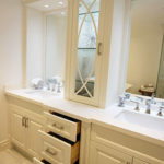 Custom made double sink vanity. Luxury high end painted off white vanity.Solid wood drawers with European hardware. Designed and built by JK. North York 2014.