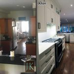 double stacked kitchen cabinets renovation before after photo