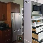 modern built in pull outs soft close glass drawers before after photo