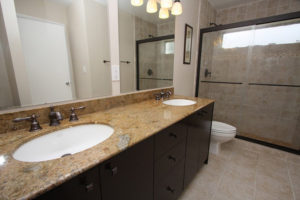 double sink vanity with granite top