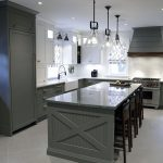 Custom made transitional three tone kitchen. Combination of gray, white and walnut wood. Face framed kitchen cabinets. Custom made canopy hood. Designed and build by JK Markham