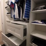 Walk in closet for him. Open shelves and drawers with soft close hinges. Design and built by JK. Dec. 2018 Markham.