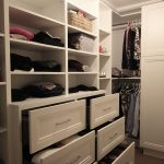 Walk in closet for her. Painted MDF doors. Open shelves and drawers. European easy close hardware. Design and Built by JK Dec. 2018 Markham.