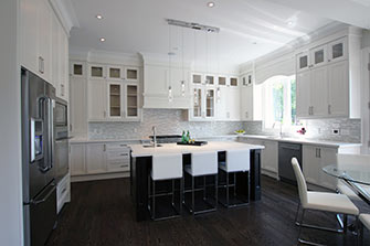Dynamic Design Construction Modern Painted Off White Kitchen Solid Wood Stained Island