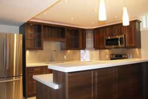 modern dark brown melamine kitchen